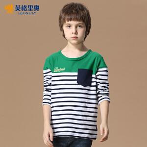 英格里奥春春装新款男童长袖休闲T恤青少年儿童纯棉条纹打底衫LLB3601