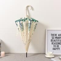自动长雨伞长柄女小清新晴雨两用个性复古长伞长柄伞女生 95cm