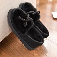 棉拖鞋女包跟冬季居家防滑加厚保暖软底月子鞋室内地板毛毛豆豆鞋