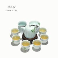 包邮 手绘青瓷整套陶瓷套组礼盒装 茶壶茶具套装