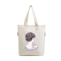清新帆布单肩包学生文艺女手提包简约环保购物袋
