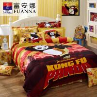 富安娜(FUANNA)功夫熊猫 卡通动漫儿童床品套件纯棉四件套全棉床单被套功夫熊猫四件套 1.5米(203*229cm)红