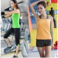 瑜伽服套装运动中裤 背心短裤 紧 身 跑步健身衣 女款 羽毛球
