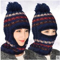 女帽子护耳围脖一体帽韩版潮针织毛球帽户外运动骑行毛加绒冬