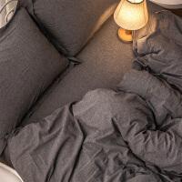 君别棉四件套棉床上用品水洗棉被子三件套床单男色素色被套网红