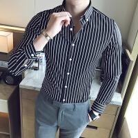 长袖衬衫男 2019新款条纹衬衫男长袖商务休闲衬衣修身帅气寸衫