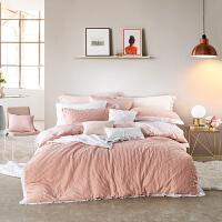 LOVO家纺 全棉泡泡纱床品四件套 1.5/1.8米床 时尚脏粉色床单被套 爱丽儿