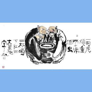 国内文与画俱佳的艺术家中国北方书画研究会常务理事国家一级美术师刘子玉(一对老顽童)