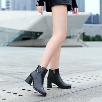 camel骆驼秋季新款女鞋牛皮通勤粗高跟短靴简约绒面保暖加绒女靴子
