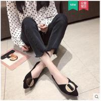 春季新款韩版单鞋尖头平底鞋浅口瓢鞋软底工作鞋女豆豆鞋女鞋