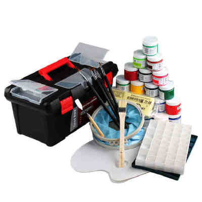 马利1100水粉颜料套装 美术工具箱+画笔调色盒水粉画颜料套餐 齐全 大容量100ML每瓶 实惠套装