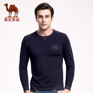骆驼男装 秋季新款简约套头圆领直筒青年休闲长袖卫衣男上衣