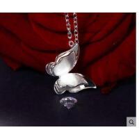 日韩版时尚甜美蝴蝶脖子银饰品生日礼物送女友银项链女