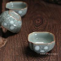 陶瓷点彩哥窑点彩四方单杯小茶杯龙泉青瓷 品茗杯 普洱 功夫茶碗