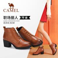 camel骆驼女鞋 冬季新品短靴马丁靴瘦瘦靴真皮韩版高跟时尚女靴子