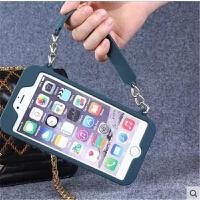 新款iPhone6/plus硅胶手提包包插卡手机壳苹果5/5S带挂脖钱包后套