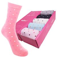 [点点款5双装包邮]内慧 纯棉女中筒袜防臭袜子糖果色女士袜子礼盒点点款