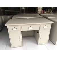 铁皮桌成都钢制办公桌 写字台铁皮电脑桌加厚带抽屉员工位 门卫登记台