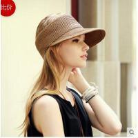 可折叠遮阳帽 空顶帽女士韩国太 阳帽夏天防晒鸭舌帽草帽骑车帽
