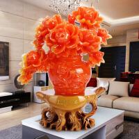 牡丹花瓶电视酒柜摆件客厅家居装饰现代简约结婚庆礼物工艺品摆设