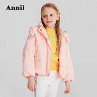 安奈儿童装女童短款棉衣2021冬新款洋气刺绣加厚保暖女生外套连帽