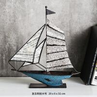 一帆风顺帆船摆件办公室创意现代简约风格电视柜客厅摆件家居饰品桌面摆件铁艺帆船
