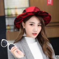 帽子女韩版潮时尚女士百搭甜美可爱优雅毛呢小礼帽
