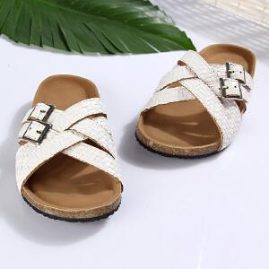 梓缇儿童拖鞋凉拖 夏季新款居家 休闲防滑橡胶*木大底 真皮凉鞋
