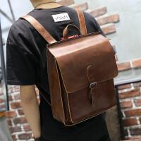 疯马皮多功能双肩包百搭时尚简约学生休闲男女旅游背包SN3504 咖啡色 全场满2件送手包
