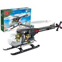 【小颗粒正品邦宝 拼插积木益智儿童玩具 直升机海军陆战队8243