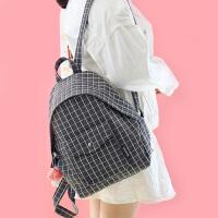 森系格子背包书包女韩版学院风高中大学生帆布包双肩包