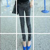 0323202428689新款韩版黑色打底裤女春秋薄款外穿显瘦弹力小脚铅笔裤格子裤