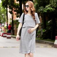 孕妇连衣裙夏装新款韩版孕妇长裙时尚中长款条纹可哺乳孕妇装春装
