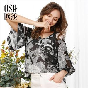欧莎2017夏装新款女装复古印花喇叭袖雪纺衫女B17053
