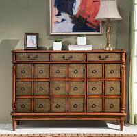美式家具间厅玄关柜 门厅复古边柜彩绘隔断柜 欧式鞋柜实木 整装
