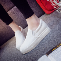 2018春季内增高懒人鞋女小白色学生厚底帆布鞋女休闲板鞋