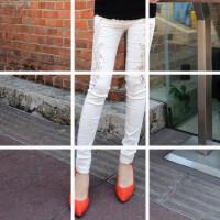 欧洲站女装裤子蕾丝时尚妩媚显瘦腿白色小脚铅笔裤女长裤 潮