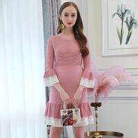 女装早春新款浪漫蕾丝拼接喇叭袖针织衫+鱼尾半裙套装