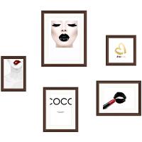 20191129171832554照片冲印玄关餐厅小尺寸5框照片墙相片墙创意个性相框挂墙组合 0.6*0.8 白木框