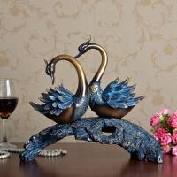 欧式复古家具装饰品客厅电视柜家居饰品美式创意天鹅摆件酒柜摆设