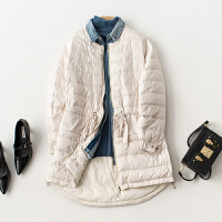 轻薄羽绒服女中长款2018冬季新款韩版时尚拼接牛仔白鸭绒羽绒外套