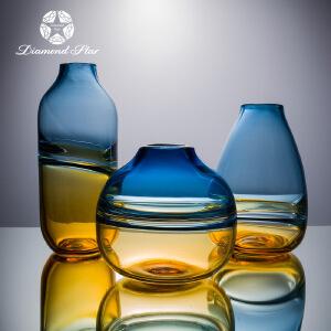 吹制玻璃花瓶简约现代艺术透明水培花器彩色家居摆件工艺品