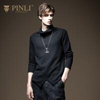 PINLI品立2020秋季新款男装高领长袖针织衫打底毛衣男B203510193