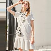 秋水伊人连衣裙2020夏装新款女装波点娃娃领短袖小个子裙子