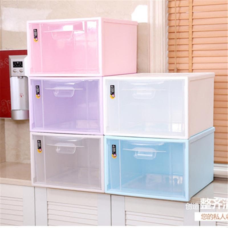 日式pp加厚单层抽屉式自由组合柜透明大号塑料收纳箱抽屉柜储物箱 米
