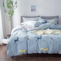 君别床上四件套床单被套四件套1.5m水洗棉被套1.8米简约秋冬床品