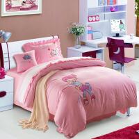 君别女童绣花被套三件套粉色小兔卡通床单四件套1.21.5m床上用品