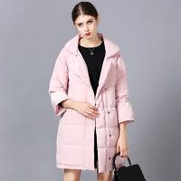 �莱九分袖棉服女中长款韩版翻领简约时尚轻薄宽松冬装外套