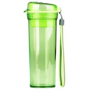 特百惠水杯 晶彩400ml随手杯子塑料便携防漏创意学生男女时尚茶杯香瓜绿