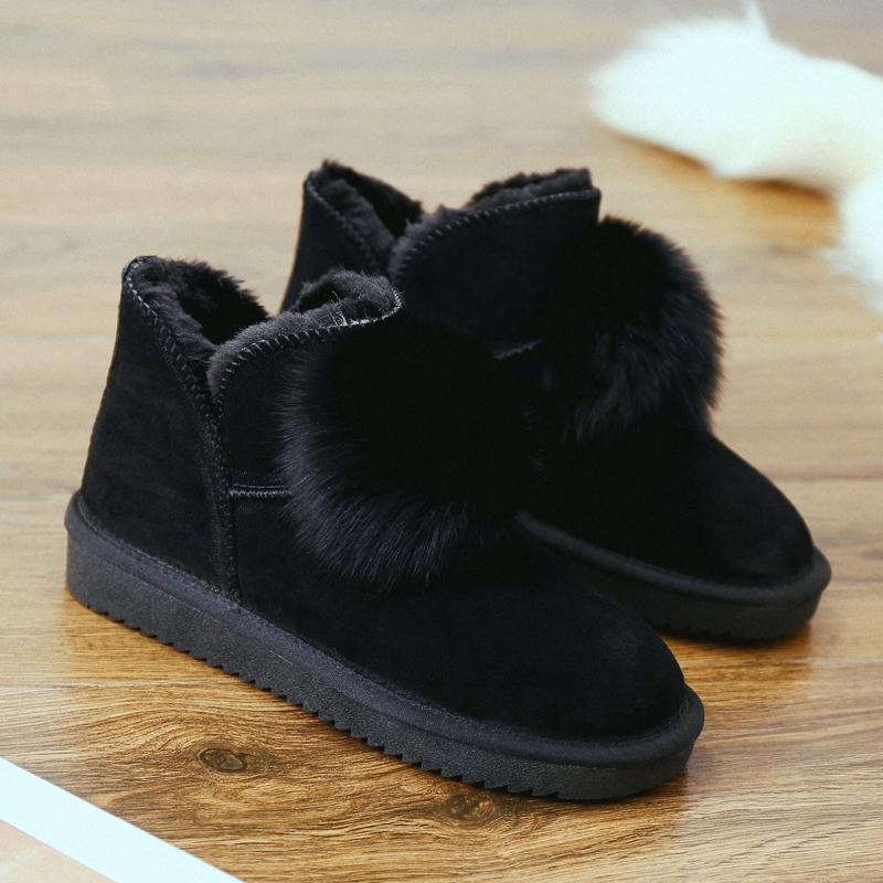 可爱毛球雪地靴女baby同款2018新款棉鞋女冬季短靴真皮雪地棉平底   【新款上新,支持七天退换货,欢迎购买】